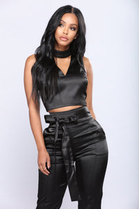 Up For A Raise Satin Pant Set - Black