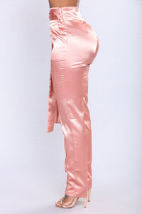 Up For A Raise Satin Pant Set - Rose Gold