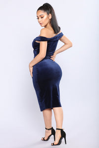 Lesley Velvet Dress - Navy