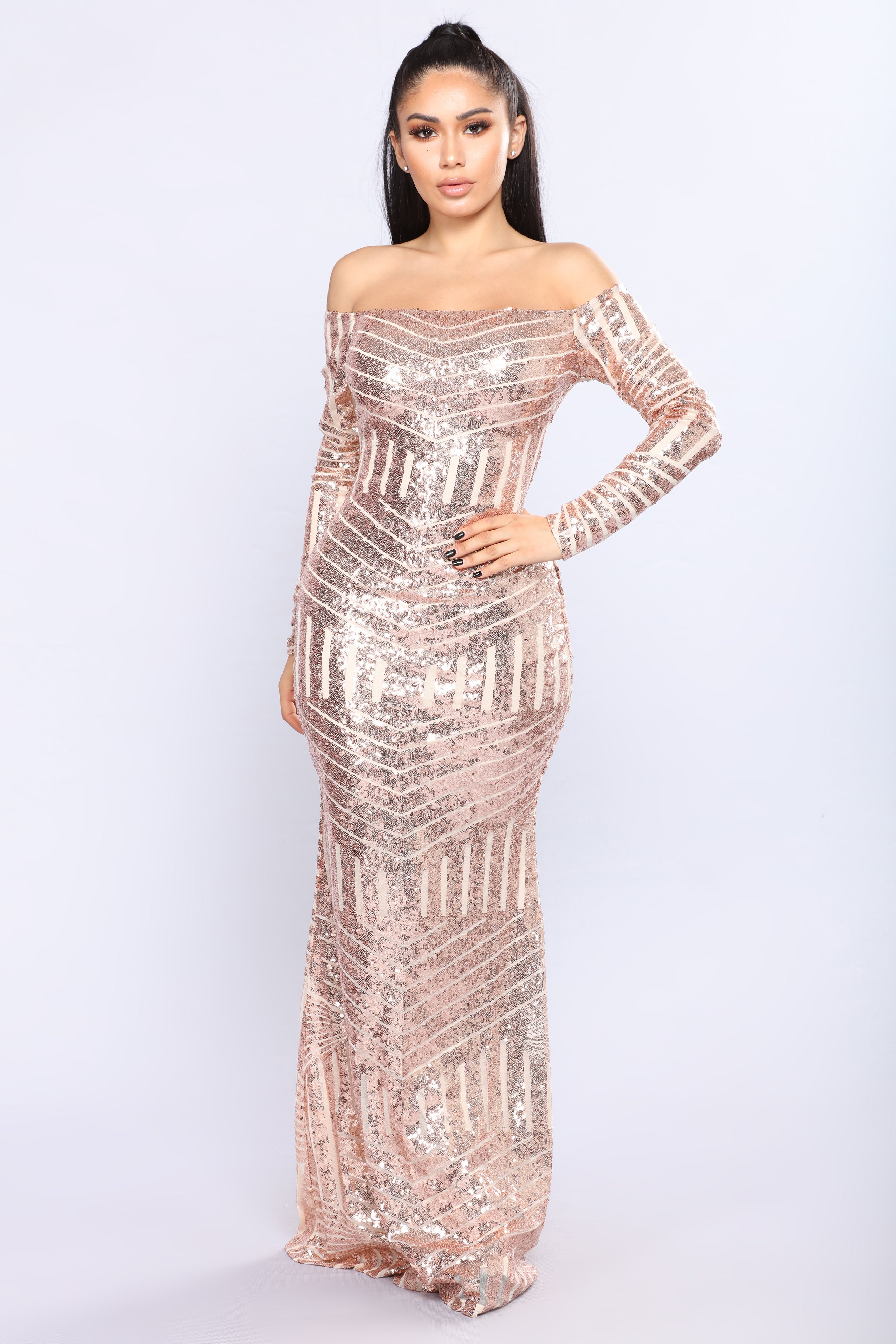 When The Night Falls Sequin Dress Rose Gold