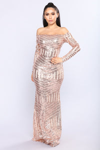 When The Night Falls Sequin Dress - Rose Gold