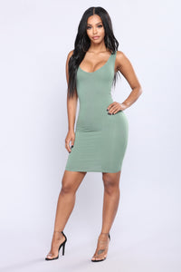 Keep It Casual Mini Dress - Sage