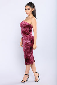 Doris Velvet Dress - Burgundy