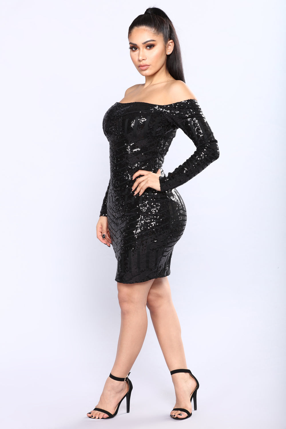 When The Night Ends Sequin Dress - Black
