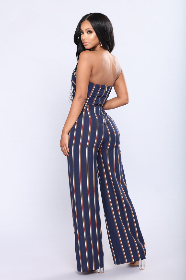 Miami Hot Spot Striped Jumpsuit - Navy