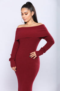Cozy Down To The Calf Dress - Burgundy