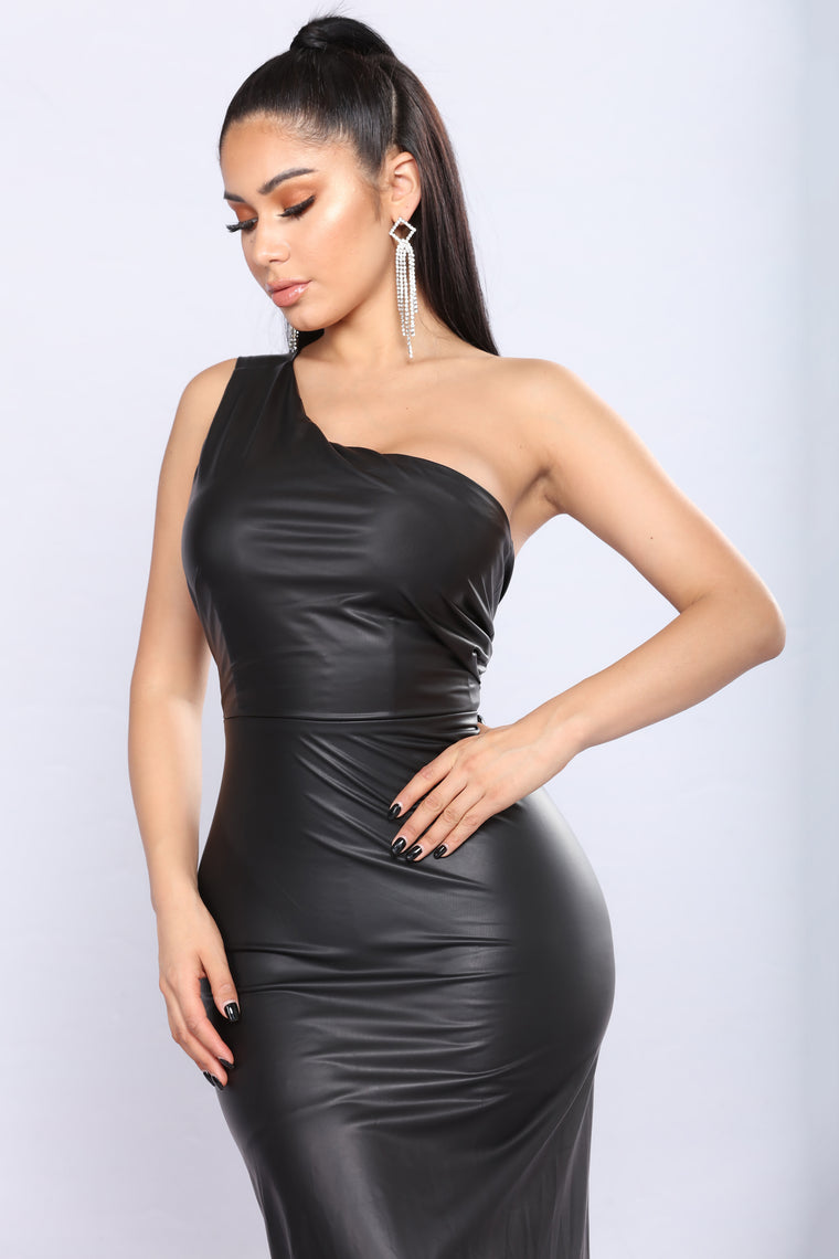 Third Anniversary Leather Dress - Black