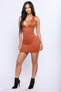 For Sure Suede Dress - Rust