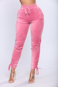 Racquel Ruched Velour Lounge Set - Pink
