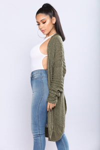 Shanit Split Back Cardigan - Olive