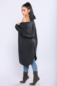 Shanit Split Back Cardigan - Charcoal