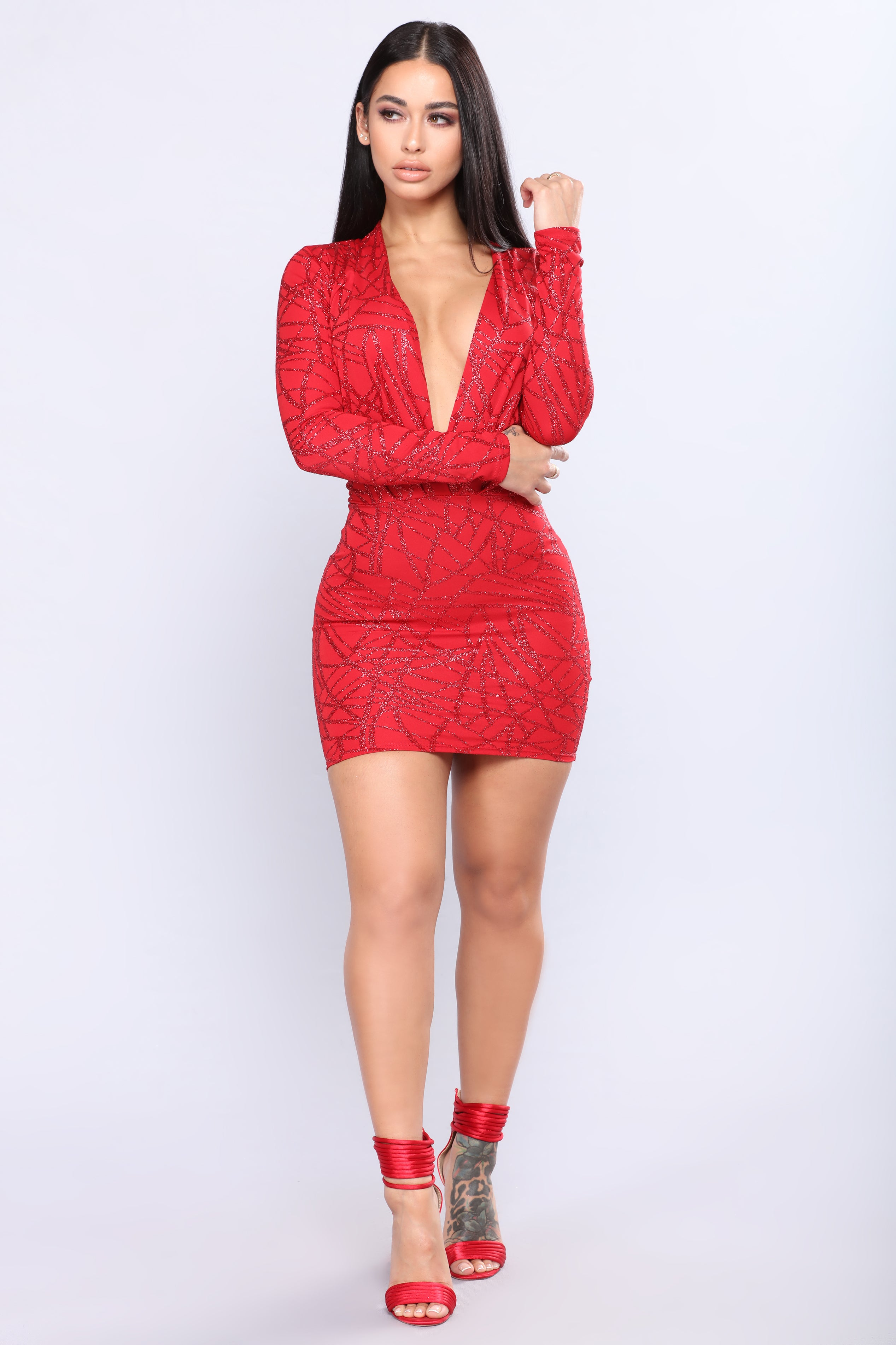 Sophisticated Sparkle Dress   Red