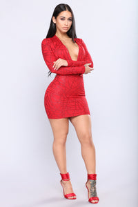 Sophisticated Sparkle Dress - Red
