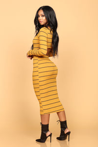 Jaylene Ribbed Dress - Mustard/Black