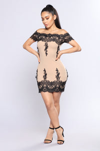 Lace Story Dress - Taupe