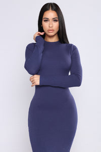 Take Hold Ribbed Dress - Navy
