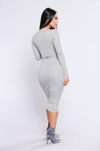 Take Hold Ribbed Dress - Heather Grey