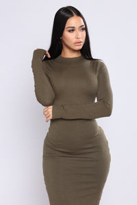 Take Hold Ribbed Dress - Olive