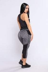 Yanna Active Crop Leggings - Black/Charcoal