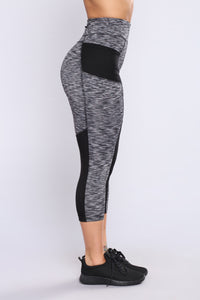 Arianna Striped Active Leggings - Black/Grey