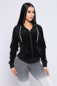 Easy Fit Velour Jacket - Black