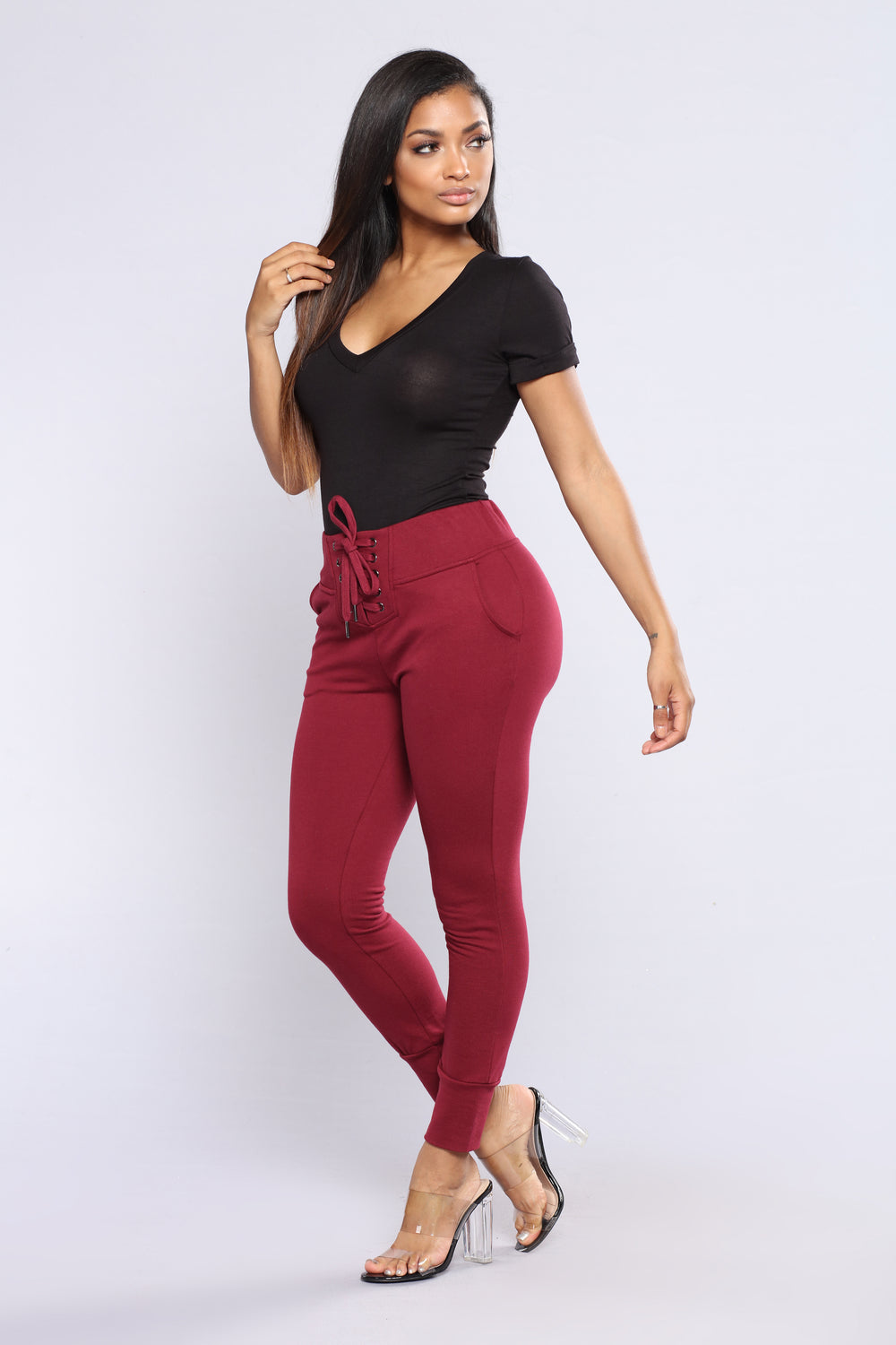 Laced With Style Joggers - Burgundy
