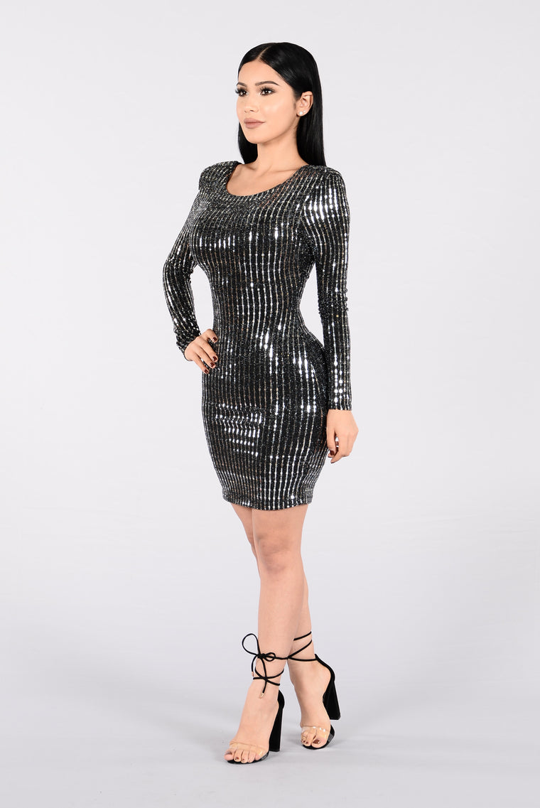 Get Your Shine On Dress - Black/Silver