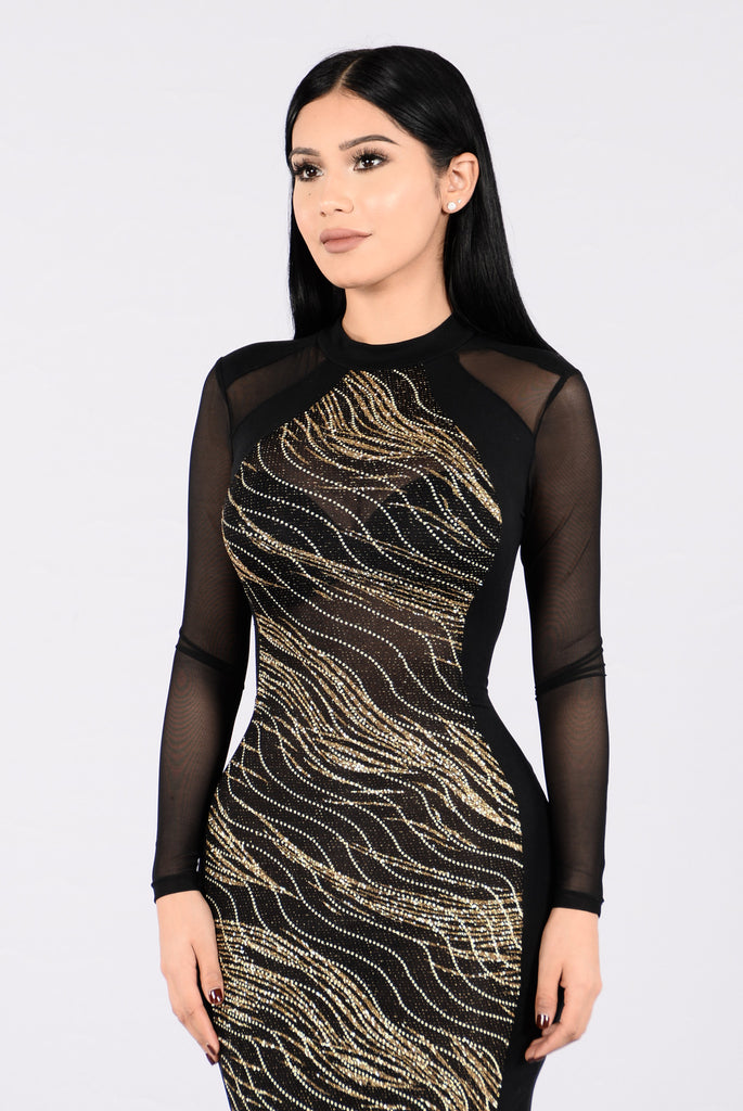 Glowed Up Dress - Gold/Black
