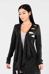Cut Off Cardigan - Charcoal