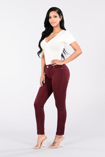 Answer My Call Jeans - Burgundy Wash