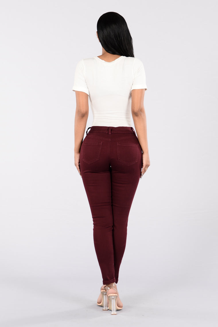 Work For It Twill Pants - Burgundy