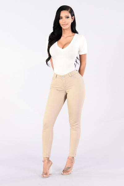 Answer My Call Jeans - Khaki Wash