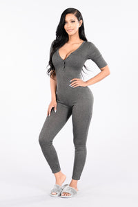 No Time For You Jumpsuit - Charcoal Angle 1