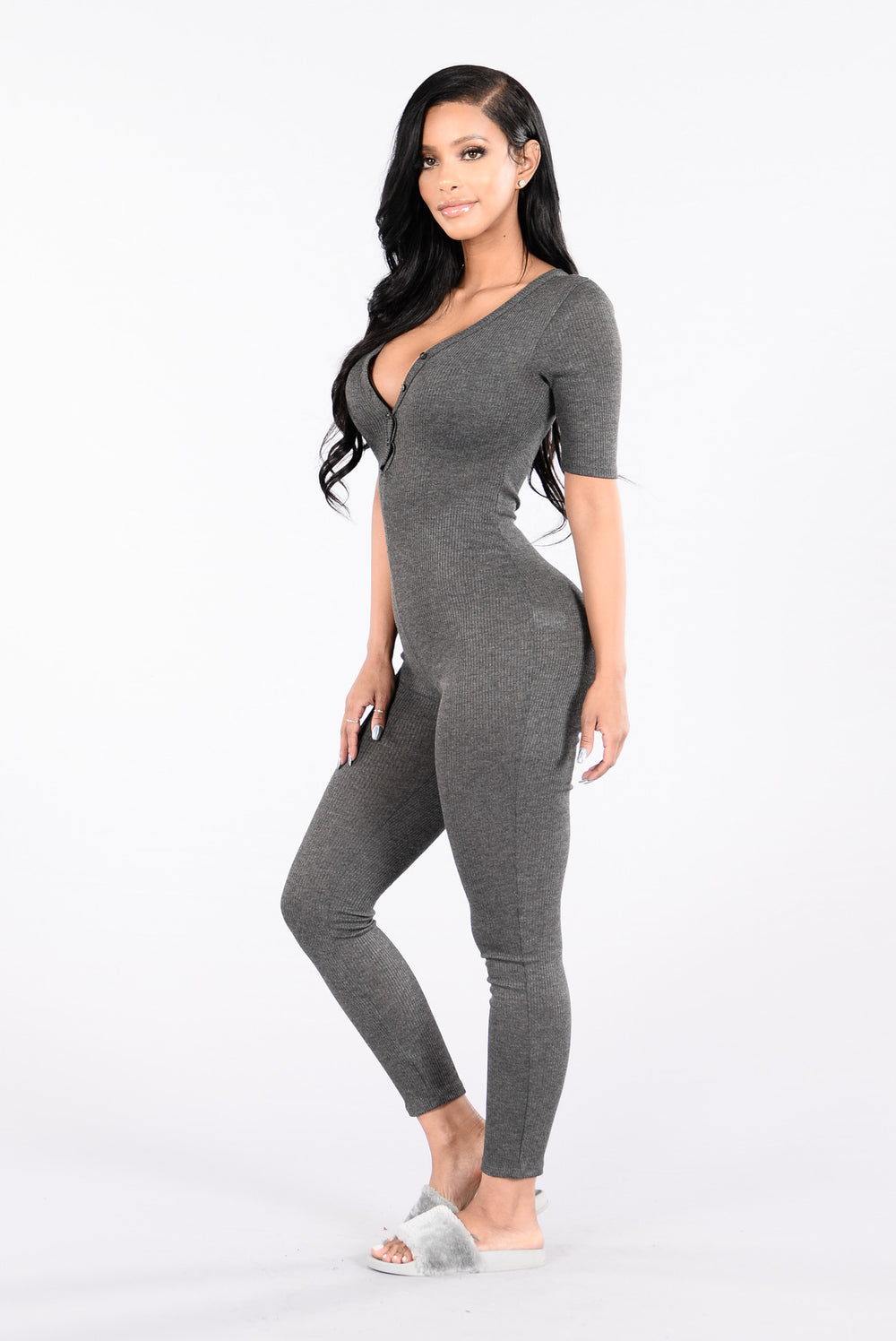 No Time For You Jumpsuit - Charcoal