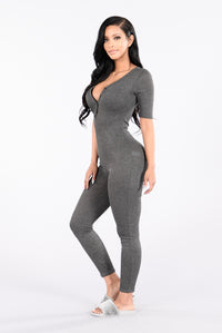No Time For You Jumpsuit - Charcoal Angle 3