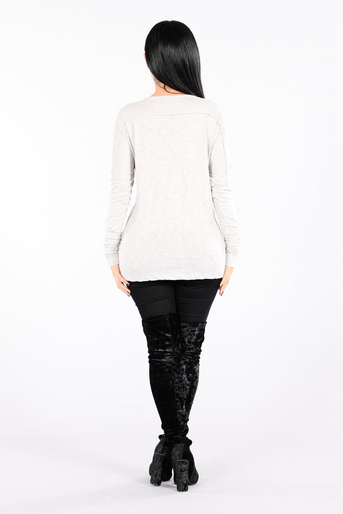 Stay With Me Top - Light Grey