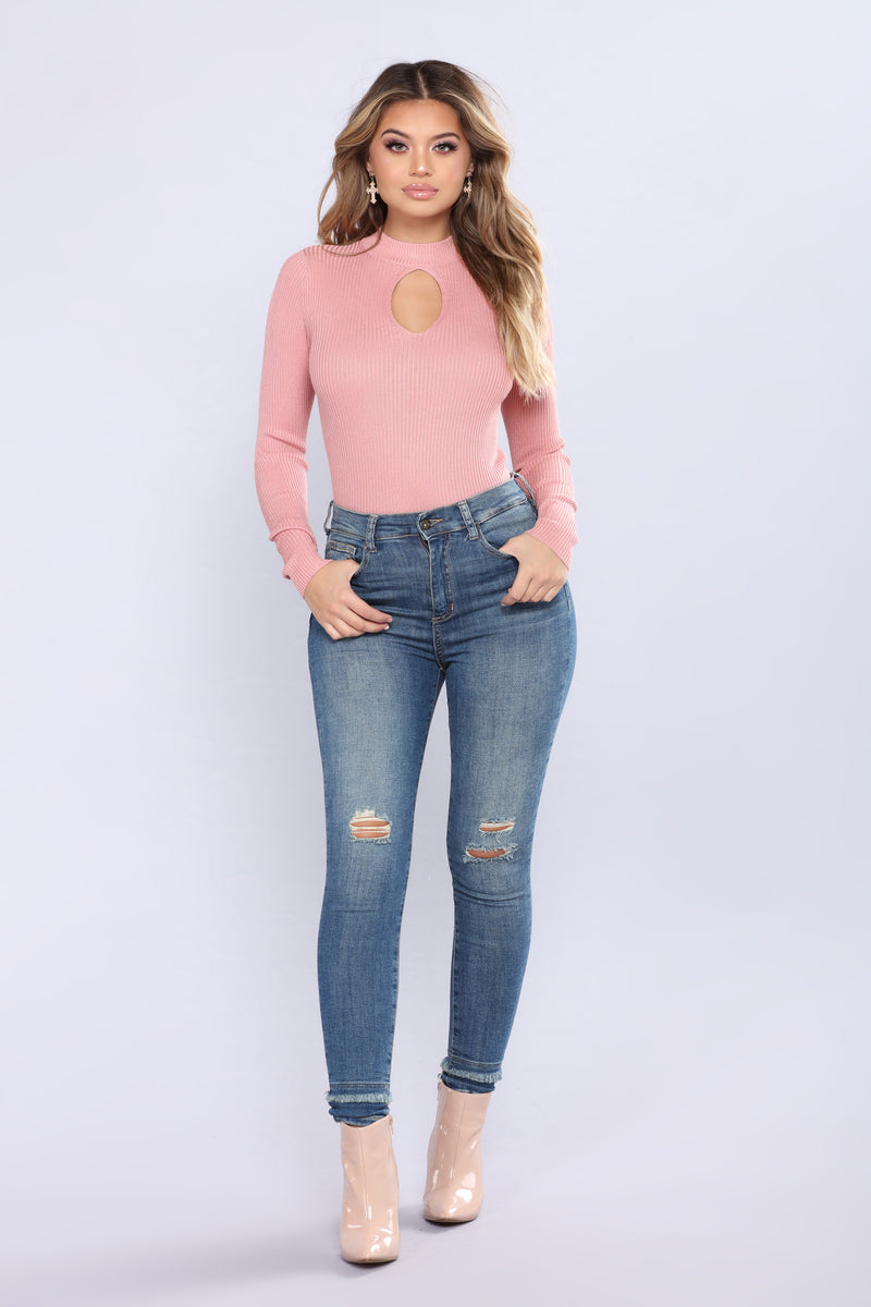 Partner In Crime Sweater Top - Mauve