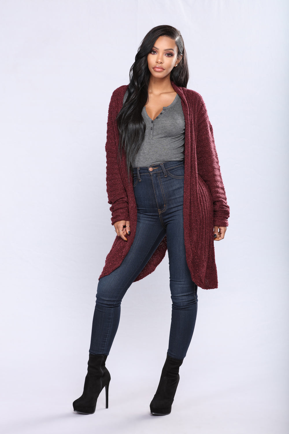 Shanit Split Back Cardigan - Wine