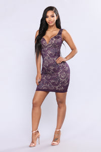 So Yesterday Lace Dress - Eggplant/Nude