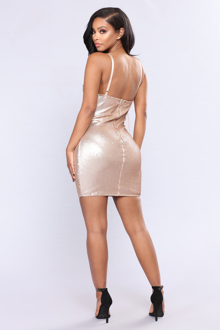 Popularity Contest Sequin Dress - Rose Gold