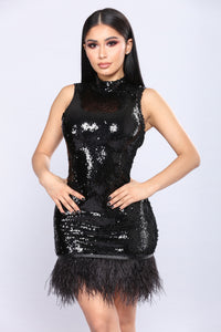 Roaring Sequin Dress - Black
