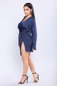Sugar Land Satin Dress - Navy