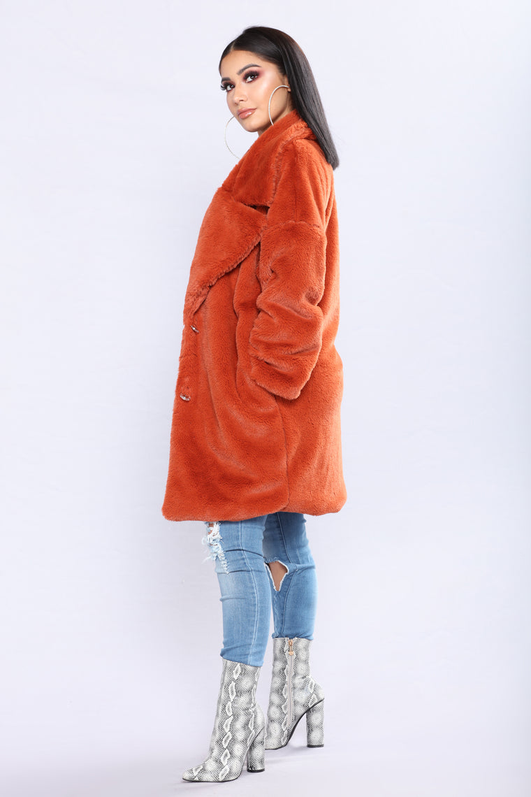 Karolina Faux Fur Jacket - Orange