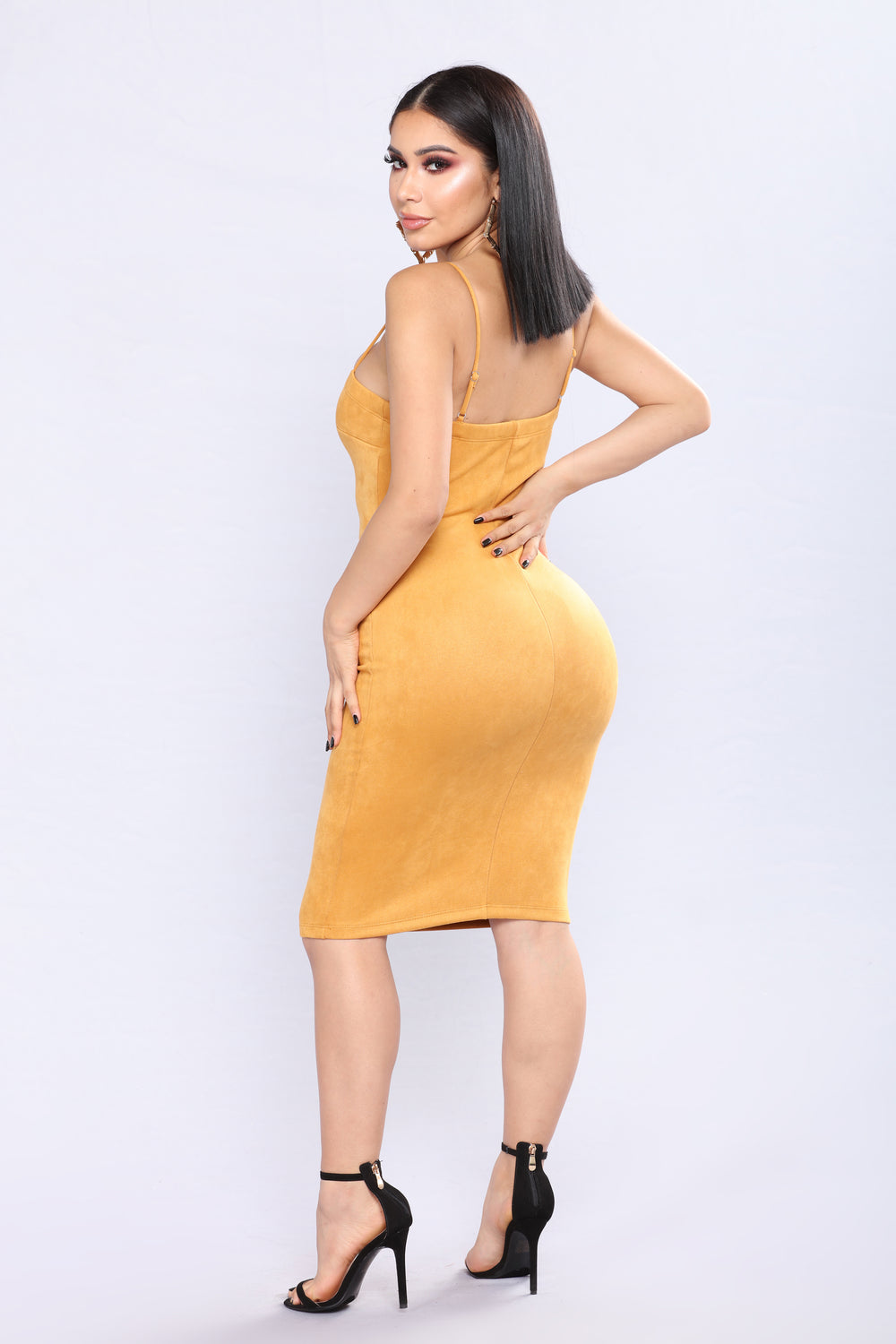 Kaitlyn Suede Dress - Mustard