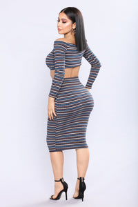 Moon Stripe Ribbed Set - Navy Multi