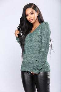 Orly Knit Sweater - Green Angle 1