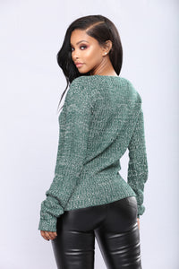 Orly Knit Sweater - Green Angle 4
