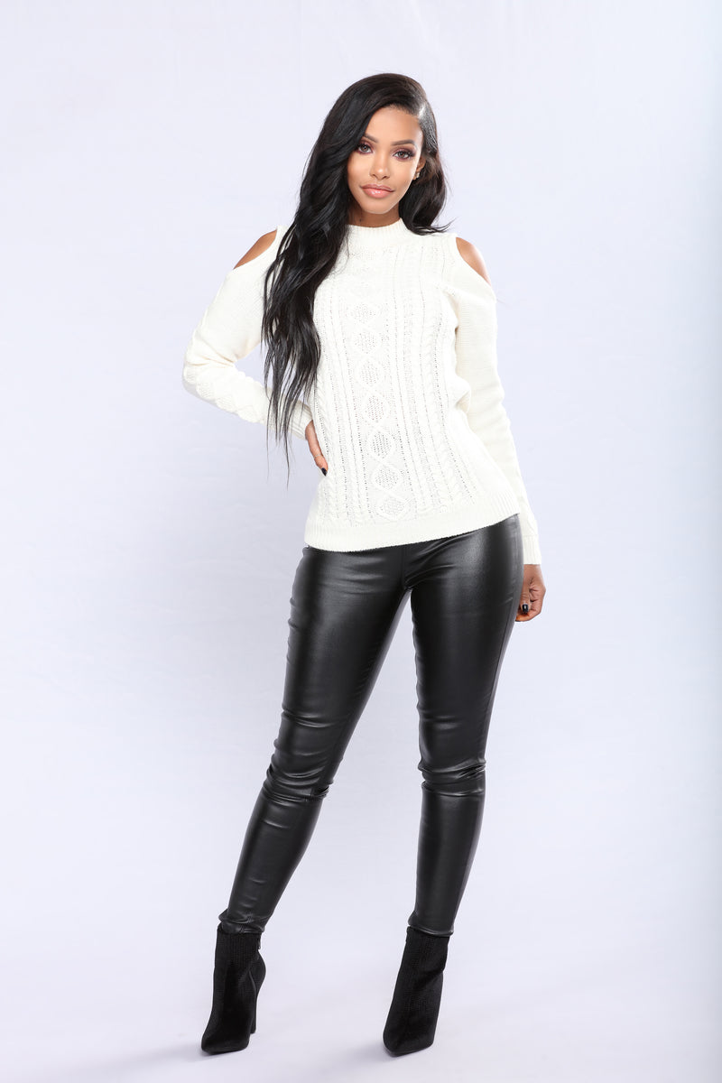 Making Sense To Me Lace Up Sweater - Ivory