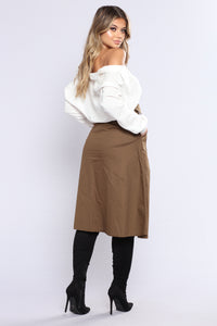 Working Girl Midi Skirt - Olive