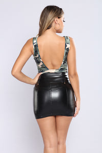 Under Command Velvet Bodysuit - Camo Angle 4